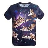 Adicreat Teen Jungen Mädchen Cool 3D Galaxy Katze T-Shirt Sommer Lustige Grafik Kurzarm