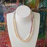 Lange Perlenkette weiß grau rosa echt Süßwasserperlen Zuchtperlen 925 Sterling Silber Designschließe 98 cm Collier handgefertigt