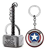Inestimable Collection Avengers Thor de capitán América de Plata llaveros y Anillos dominantes Combo (Paquete de 2)