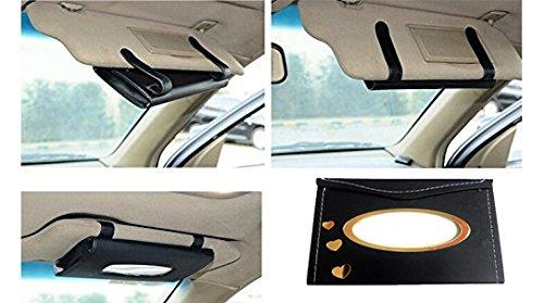 MotoPanda Car Tissue Dispenser Box, Sun Visor Paper (Black)