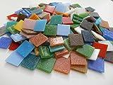 Happy-Mosaic Mosaiksteine 2x2 cm Bunte Mischung 1000g 4mm stark lose Glasmosaik Steine zum Basteln