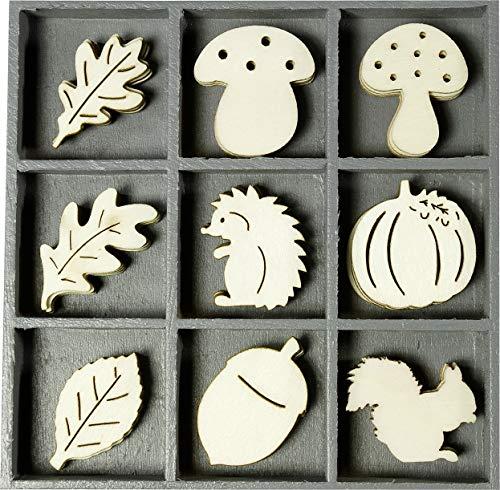 cArt-Us 10.5 x 10.5 cm Wooden Box with Hedgehog Mushroom Leaf Ornaments, Natural