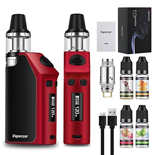 120W 2200mah Cigarette électronique Kit complet avec quatre bouteilles E-liquide Flux d'air inférieur Goût accrue Sans nicotine
