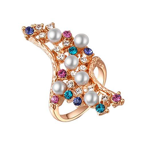 joyliveCY 2016moda de la mujer elegante oro rosa Pearl Diamond anillo Reino Unido tamaño O