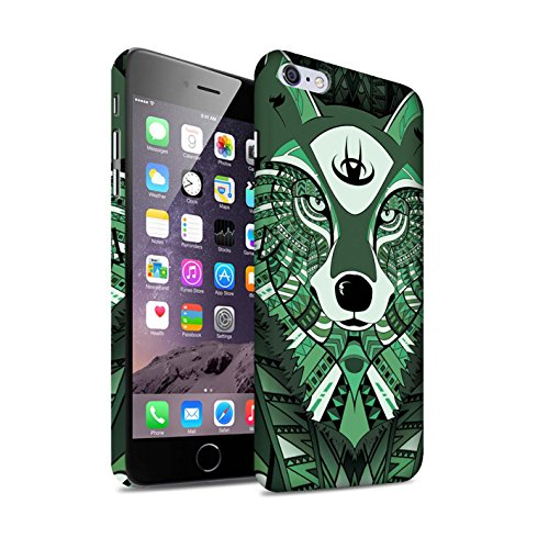 STUFF4 Matte Snap-On Hülle / Case für Apple iPhone 7 Plus / Elefant-Farbe Muster / Aztec Tier Muster Kollektion Wolf-Grün