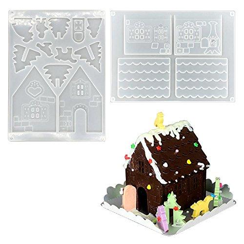 AOLVO 3D Christmas House Schokolade Form, Gingerbread House Form zum Backen no-stick Silikon Form DIY Schokolade Form Kit (2Pcs) durchsichtig (Schokoladenformen Haus)