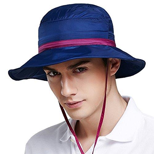 WYYY Chapeaux Hommes Visière Round Top Pliable Couleur Mosaïque Respirant Protection Contre Le Soleil De Plein Air Protection UV (Couleur : Bleu)