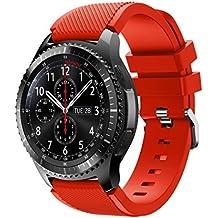 Para Samsung Gear S3 Frontier, DoraMe Moda de los Deportes de Silicona Pulsera Correa Bandera (Rojo1)
