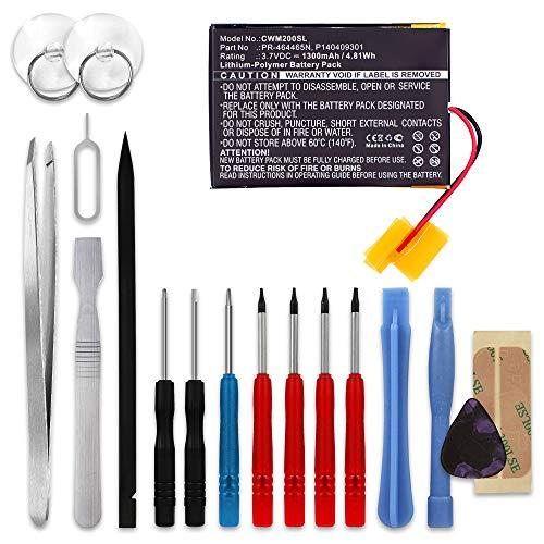 subtel® Qualitäts Akku kompatibel mit Cowon M2, Cowon P140409301, PR-464465N 1300mAh + Werkzeug-Set Ersatzakku Batterie