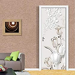 hfmt PVC Auto-adhésif Porte Étanche Mur Autocollant 3D Tulipe Stéréo Papillon Fond D'écran 3D Porte Murale Salle De Séjour Étude Décoration De La Maison 95x215cm