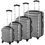 TecTake Set de 4 valises de Voyage de ABS Serrure à Combinaison intégrée | poignée télescopique | roulettes 360° - diverses Couleurs au Choix - (Argent | no. 402025)
