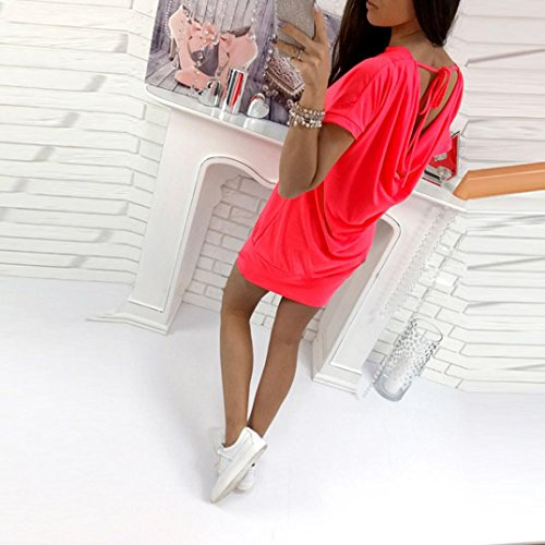 FNKDOR Women Summer Fashion Robe manches courtes à manches courtes Red rose