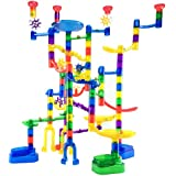 Marble Genius Marble Run Super Set - 85 Translucent Marbulous Pieces + 15 Glass Marbles