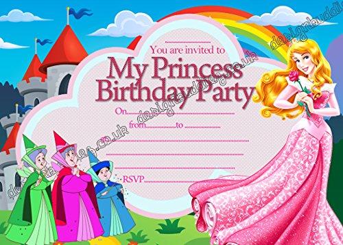 10x Disney Prinzessin Aurora Sleeping Beauty Geburtstag Party Einladungskarten mit 10Kostenlosen Umschlägen, 20