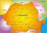 Posterlounge Stampa su PVC 120 x 90 cm: Romania Map di Editors Choice