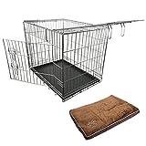 Nemaxx Transportbox Transportkäfig Drahtkäfig Klappbar Hundebox Hundekäfig Käfig Größe M in Silber + Kissen