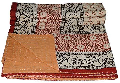 Ramdev Artigianato Indiano Ajrakh Kantha Trapunta di Cotone Queen Size Trapunta Coperta copriletto copriletto