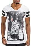 trueprodigy Casual Hombre marca Camiseta estampado ropa retro vintage rock vestir moda cuello V manga corta slim fit designer cool urban fashion t-shirt color blanco 1073125-200...
