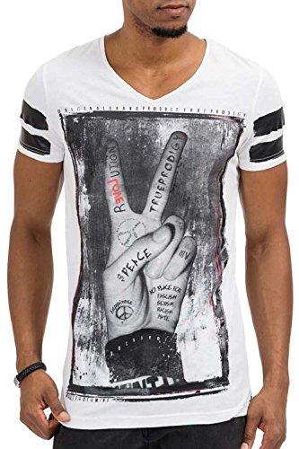 trueprodigy Casual Herren Marken T-Shirt mit Aufdruck, Oberteil cool und stylisch mit V-Ausschnitt (kurzarm & Slim Fit), Shirt für Männer bedruckt Farbe: Weiß 1073125-2000-L