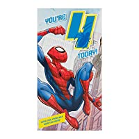"Hallmark Medium ""Badge"" Spiderman 4th Birthday Card"