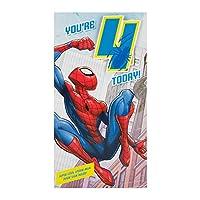 """Hallmark Medium """"Badge"""" Spiderman 4th Birthday Card"""