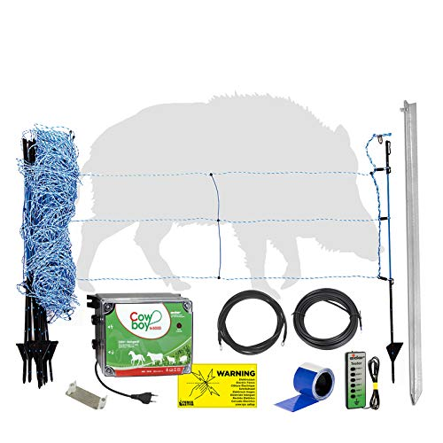 Eider Elektrozaun Komplettset zur Wildschweinabwehr im Garten mit 50 m Netz, 230 Volt Weidezaungerät und Anschlusskabeln - sofortiger Schutz gegen Wildschweinschäden