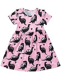 vestidos de niña, ASHOP Vestido de manga corta con estampado de dinosaurios vestidos de princesa