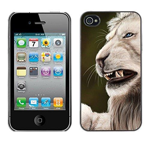 GooooStore/Housse Etui Cas Coque - Roar Angry Big Cat Lion Nature White - Apple iPhone 4 / 4S