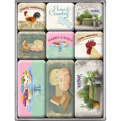 Nostalgic-Art 83017 Home & Country - Home & Country, Magnet-Set (9teilig) Huhn, Küche