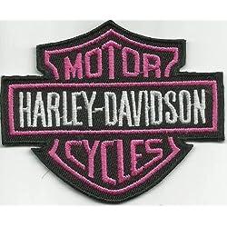 Harley Davidson rosa Insignia Sew-hierro-en parche bordado motorista moto Chopper corcho placa