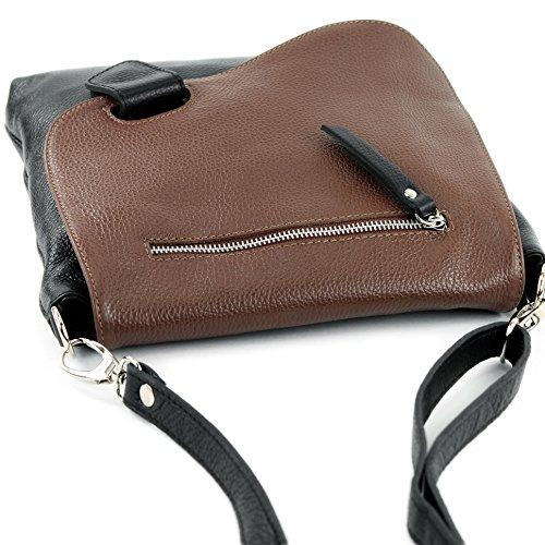 modamoda de -. cuoio ital Borsa da donna Messenger bag borsa a tracolla in pelle borsa NT07 2in1 Schwarz/Braun