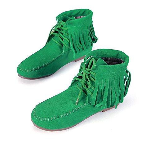 Backbuy Femmes Filles Cheville Bottes Épais Lacets Up Frange Chaussons Glands Bout Rond Bottine Courtes Vert