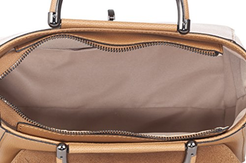 Laura Moretti - Saffiano borsa in pelle con manici in metallo Leather