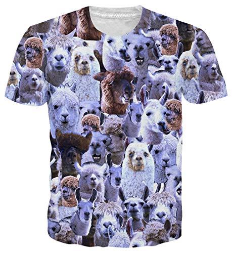 Goodstoworld 3D Alpaka Gesicht Print T Shirt Herren Damen Sommer Lustige Beiläufige Kurzarm Aufdruck T-Shirts Tee Top XL