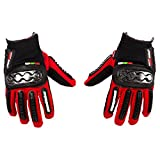 Automotive Accessories Best Deals - Autofy Pre Curved Armour Anti Slip Full Finger Waterproof Gloves (Red and Black, XL)