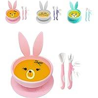 Set Piatto per Bambini a Ventosa Brunoko + Cucchiaino Svezzamento - set pappa svezzamento con piatto a ventosa per…