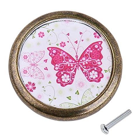 MagiDeal Vintage Round Cabinet Door Drawer Bin Handle Pull Knob Hardware Pink Butterfly Pattern
