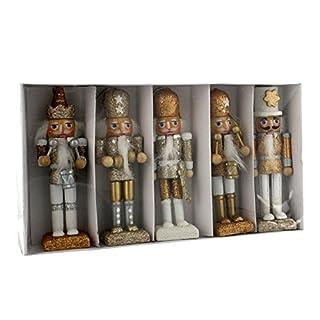Traditional Wooden CHRISTMAS NUTCRACKER SOLDIER Decorations / Christmas Tree Decorations - GOLD & WHITE - 12cm - SET of 5