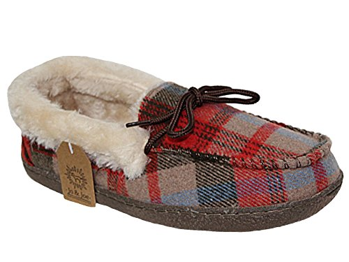Ladies Brown Tartan Faux Fur Lined Moccasin Slippers Shoes Size 3-8 (UK...
