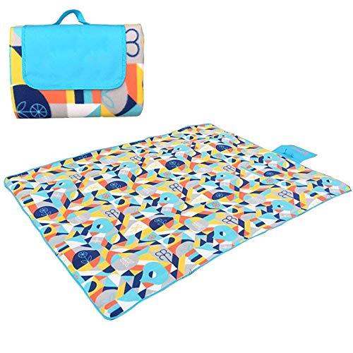 MIW XXL-große Picknickdecken for draußen, wasserfeste Unterlage 200 x 200 cm Übergroße Camping-Matte aus weichem Vlies - Feinstrick-piqué
