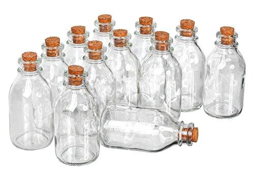 12 Glasflaschen Flaschenpost Basteln 130ml mit Korken VBS Großhandelspackung