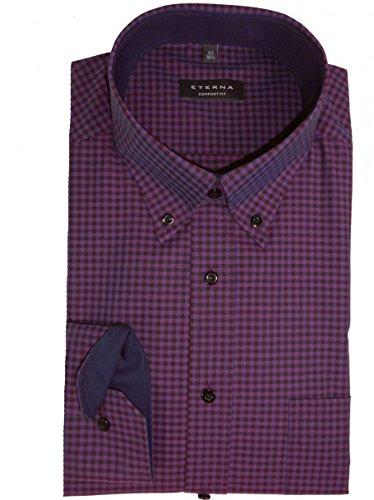 Eterna Long Sleeve Shirt Comfort Fit Poplin Checked lilla/negro