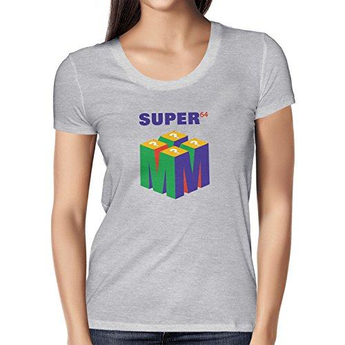 NERDO Super 64 - Damen T-Shirt, Größe M, Grau Meliert