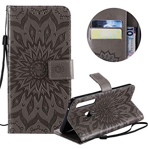 Preisvergleich Produktbild Gurt Brieftasche für Galaxy A9 2018, Grau Handyhülle für Galaxy A9 2018, Moiky Ziemlich Schöne Mandala Sonnenblume Geprägt Klappbar Kartenfächer Stoßdämpfende Ledertasche mit Stand