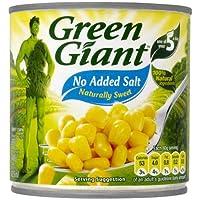 Gigante Verde Sal gratuito maíz dulce 340 g (peso escurrido 285g) (paquete de 12 x 340g)