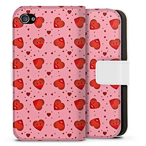 Apple iPhone X Silikon Hülle Case Schutzhülle Valentinstag Pink Herzen Sideflip Tasche weiß
