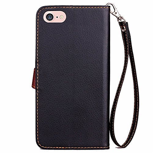 iPhone Case Cover Strass PU-Leder-Kasten, Magnetverschluss Folio Mappen-Standplatz-Kasten mit Handschlaufe für iPhone7 ( Color : Rose , Size : IPhone 7 ) Black