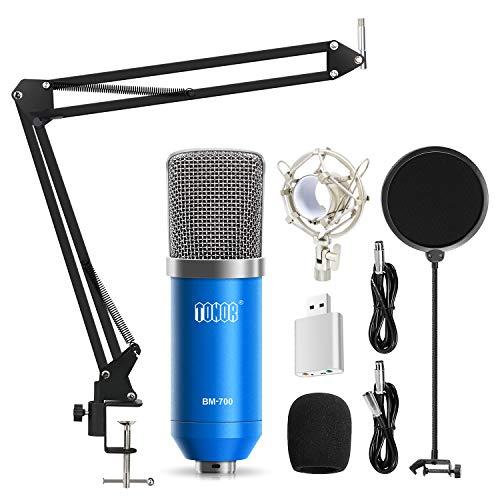 Tonor Microfono Condensatore Professionale Studio Computer PC Kit Microfonos con 35 XLR/Pop Filtro/Stand Scissor Braccio/Shock Mount per Studio di