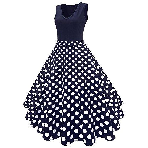 ZAFUL Plus Size 40s 50s 60s Vintage Floral Printed Midi Vintage Flare Schwingen Rockabilly Pinup Ballkleid Partei Kleid EU Size 38-54 PURPLISH BLAU 1