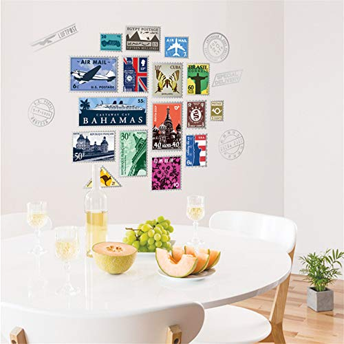 Creativo Sello Moderno Álbum Pegatinas De Pared Colección De Estampillas Para Sala De Estar Dormitorio Tatuajes De Arte Decoración Casera Murales Pvc